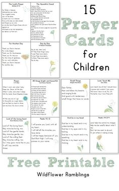 Prayer Cards for Children (or mamas!) FREE PRINTABLE -- from Wildflower Rambllings Prayers and how to pray Catholic Kids, Catholic Prayers, Kids Church, Catholic Catechism, Church Camp, Church Ideas, Sunday School Lessons, Sunday School Crafts, Prayers For Children