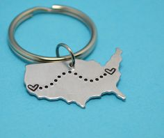 United States Keychain - Best Friend Gift - Couples Gift - Long Distance Love on Etsy, $15.00