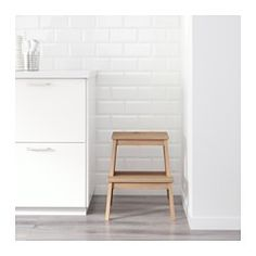 IKEA - BEKVÄM, Step stool, Solid wood is a hardwearing natural material.Hand-hole in the top step makes the step stool easy to move.