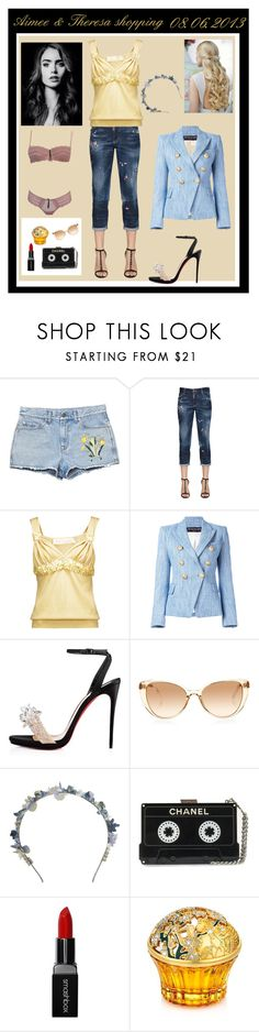 """""""Shopping with Aimee in Wien - Theresa"""" by miss-golden-dreamer on Polyvore featuring Mode, Gucci, Dsquared2, Dessous, Valentino, Balmain, Christian Louboutin, Linda Farrow, Eugenia Kim und Smashbox"""