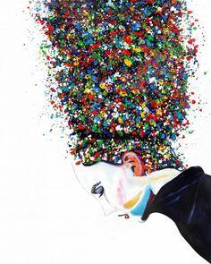 Itay Magen Art- Abstract portraits, Original oil paintings and prints Glitter Canvas, African American Art, African Art, Feminist Art, Abstract Portrait, Bottle Painting, Arte Pop, Art For Art Sake, Love Wallpaper