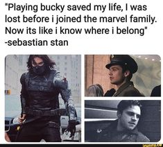 """Playing bucky saved my life, I was lost before ijoined the marvel family. Now its like i know where i belong"" -sebastian stan - iFunny :) Marvel Actors, Marvel Characters, Marvel Heroes, Marvel Dc, Bucky Barnes Marvel, Marvel Jokes, Marvel Funny, Die Avengers, Avengers Cast"