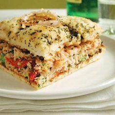 Broccoli and Smoked Turkey Focaccia Sandwiches