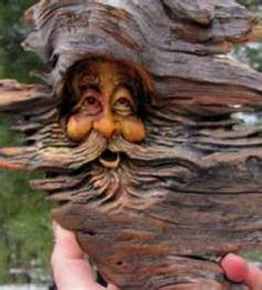 -Wood Carving Tree Sculpture Rustic Spirit Forest Face - ..