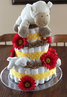 lamb diaper cake