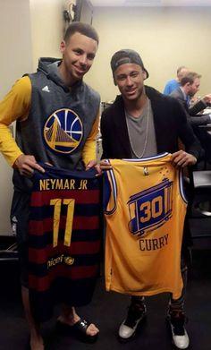 Stephen Curry and Neymar Jr. 2018 Nba Champions, Nba Playoffs, Golden State Warriors Game, Kareem Abdul Jabbar, Sport Football, Sports Jerseys, Basketball, Magic Johnson, Larry Bird