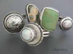 Laura Jane Bouton - New work, rings, pearl, ocean jasper, variscite