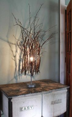Twig lamp: hang this from top of canopy, no light involved, paint twigs various bright colors Make A Lampshade, Burlap Lampshade, Luminaire Design, Lamp Shades, Light Shades, Lamp Light, Light Bulb, Light Fixtures, Diy Home Decor