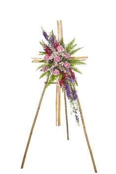 Bamboo cross floral tribute arrangement. Funeral Flowers, Craft Supplies, Dandelion, Bamboo, Floral, Plants, Dandelions, Flowers, Plant