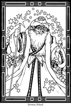 Beautiful Santa pattern. Print and colour or paint him on canvas or wood.