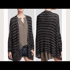 Free People Charcoal sweater Charcoal stripped Free People sweater, comfy sweater with dropped pockets, raglan sleeves.  New with tags Free People Sweaters Cardigans