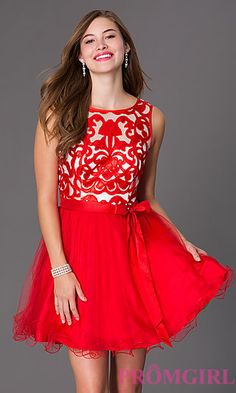 Short Sleeveless Dress with Lace Embellished Bodice by Masquerade at PromGirl.com
