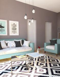 Gut //Wohnung Im Skandinavischen Stil// Wohnzimmer Mit Sitzmöbel In Türkis Und  Couchtisch Im