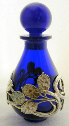 French silver white metal cobalt blue glass leaf overlay scent/perfume bottle.