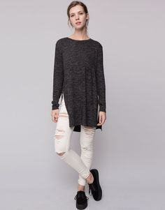 Pull&Bear - mujer - básicos - jersey túnica punto cortado - negro - 09559300-I2015