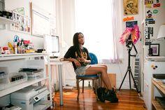 Vashtie Kola in her NYC apartment.