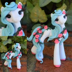 Greek Inspired floral Filly Whisper Fillies Unique handmade polymer clay horse, pony, unicorn and fantasy creatures. Ooak Art doll dolls / Visit my collection of adorable little figurines on Facebook, Instagram and Etsy! Whisperfillies.etsy.com