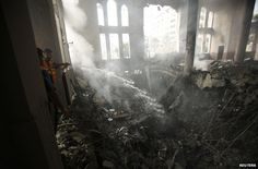 Israel intensifies Gaza attacks after Netanyahu warning. Gaza has seen one of its heaviest nights of bombardment, by air, sea and land, after Israel's prime minister warned of a long conflict ahead. At least 60 Palestinians were killed, according to local health officials. Firefighters in the ruins of a mosque in Gaza, 29 July