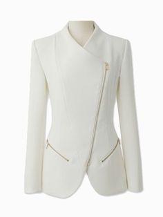 3922a21103bc Choies Zipped Blazer In White #dress #coat outfit Dzsekik, Fehér Trikó,  Nadrág