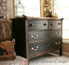 Best Black Paint For Furniture Salvaged Inspirations. Tiger Oak Dresser In Lamp Black Java General Finishes . Home Design Ideas Paint Furniture, Furniture Projects, Furniture Makeover, Dresser Makeovers, Dresser Ideas, Blue Furniture, Furniture Design, Oak Dresser, Dresser Knobs
