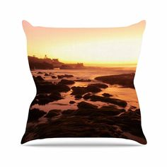 KESS InHouse NN1023AOP03 18 x 18-Inch 'Nick Nareshni Rocks Of La Jolla Sunset Yellow Orange' Outdoor Throw Cushion - Multi-Colour *** Learn more by visiting the image link. #GardenFurnitureandAccessories
