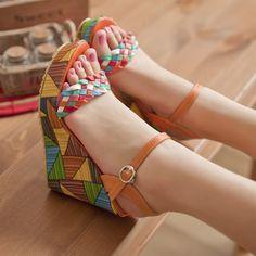Shoespie Color Block Straw Wedge Sandals - Wedge Sandals – Page 15 – Elegant Shoe Girl Girls Heels, Girls Sandals, Stylish Sandals, Fashion Sandals, Trendy Shoes, Womens Shoes Wedges, Cute Wedges Shoes, Wedge Sandals, Just In Case
