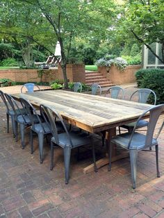 32 best outdoor farmhouse table images dinning table woodworking rh pinterest com