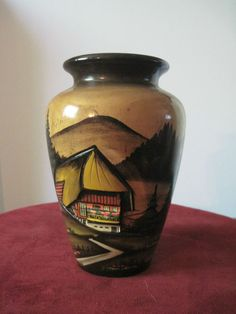 Hand Painted Carved Wooden Vase Countryside in Germany #vase #Countryside