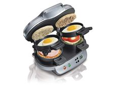 It's all about making fresh breakfast sandwiches you can grab and go. In five minutes or less, two perfectly assembled breakfast sandwiches are ready to eat. You can customize each of your breakfast sandwiches with a variety of fresh ingredients. Quirky Kitchen, Cool Kitchen Gadgets, Cool Kitchens, Kitchen Tools, Kitchen Dining, Custom Kitchens, Kitchen Things, Kitchen Ideas, Birthday Gift For Him