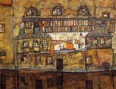 House on a River | Egon Schiele | oil painting #landsapes