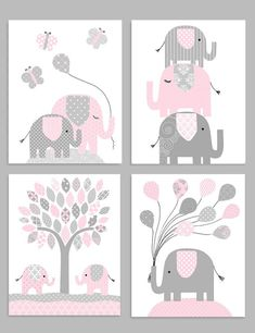 Elephant Nursery Decor, Gray and Pink, Girl Zoo Nursery, Elephant Wall Art, Safa.