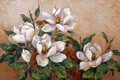 Image detail for -Magnolia Inspiration by Barbara Mock - Art Print Oil Painting Flowers, Abstract Flowers, Watercolor Flowers, Art Floral, Flower Canvas, Flower Art, Drawing Room Paint, Canvas Art Projects, Beautiful Flowers Wallpapers