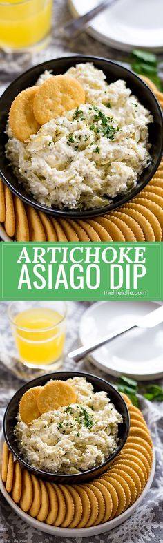 This Artichoke Asiago Dip is the best easy recipe to throw together for a last-minute spring get-together. It only takes a couple of minutes to make and is fully of cheesy, delicious flavor! Pick up supplies at Target! http://www.thelifejolie.com/artichok