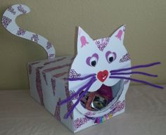 Tiger-Kitty Card Box Valentine Boxes For School, Kinder Valentines, Valentine Day Crafts, Valentinstag Party, Holiday Crafts For Kids, Holiday Ideas, Happy Hearts Day, Holidays, Crafty