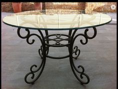 "Wrought iron table base  Visit <a href=""http://stonecountyironworks.com"" rel=""nofollow"" target=""_blank"">stonecountyironwo...</a> for more beautiful wrought iron designs!"