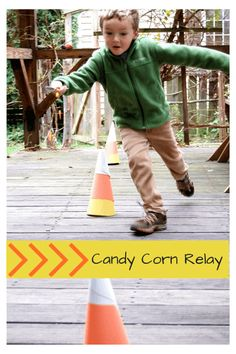First, set up candy corn cones made out of construction paper and place a bowl on either end of the course—one empty and the other filled with candy corn. The objective is to fill your spoon with the candy, maneuver around the cones, dump the candy into the bowl on the other side, and race back to hand off the spoon to the next person in line. It's a fun way for your kids to run off all that sugar-induced energy. Get the tutorial at The Inspired Treehouse.