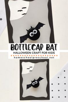 This simple bottle cap bat craft is perfect for Halloween! You can also add it to your study of bats and nocturnal animals. Halloween Activities For Kids, Halloween Crafts For Kids, Halloween Pictures, Halloween Fun, Preschool Ideas, Kids Crafts, Math Pages, Bat Craft, Thanksgiving Math