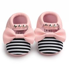 Stripped studded moccs in pink