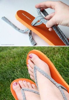 #Salvage ripped flip-flops by making a more comfortable version. (or tear them apart from the start because this is way cuter) im just wondering if the knots underneath would make it uncomfortable? Idk. Sooooo wanna try it!