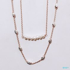 """""""""""Luna"""""""" Two-Tone Sterling & Rosy Chain Necklace 30 inch"""