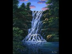 How To Paint Waterfall With Acrylic on Canvas Complete Painting Lesson Art Class Instructions - YouTube