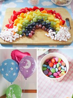 fruit & marshmallow rainbow food Cute for a unicorn party Rainbow Unicorn Party, Rainbow Birthday Party, Unicorn Birthday Parties, First Birthday Parties, 4th Birthday, Birthday Ideas, Rainbow Theme Baby Shower, Rainbow Baby, Unicorn Party Decor