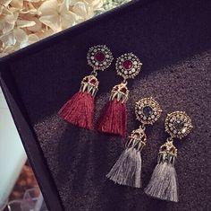 2016 패션 빈티지 귀걸이 여성 보석 밝은 벽돌 귀걸이 꽃 고대 긴 술 드롭 귀걸이 매달려 Brincos