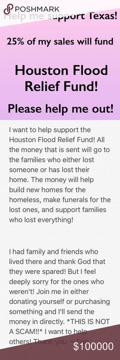 Houston Flood Relief Fund Donation! Help me out! Ever since I heard of this hurricane it has made me sad! Hearing the loss and the damage this hurricane cause had made me feel blessed to live where I am. I want to help the people who have lost so much! Please help me out! I will be posting a picture of the total I've raised and confirmation that I donated. I will be doing this till 9/5/17 My goal is to send $50! Other