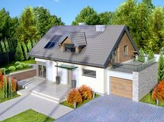 PL ™ - House design House at Alabastrowa 6 CE - DOM - ready design . - Dekoration Office Home Minimal House Design, Simple House Design, Bungalow Extensions, House Extensions, Small Cottage Homes, Bungalow Renovation, Prefabricated Houses, Stone Houses, Home Design Plans