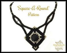 """Beading pattern Necklace """"Square-a-Round"""" in English D.I.Y"""