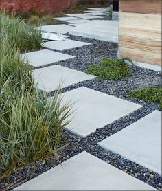 Pavers set in gravel (see our earlier feature on the Merits of Pea Gravel) in a garden path by Jeffrey Gordon Smith Landscape Architecture. (Gardenista)
