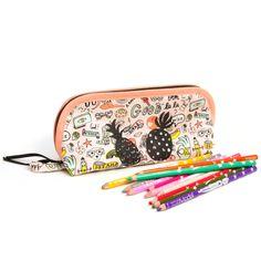 Trousse enfant grande ouverture, pour trouver facilement tous ses crayons, en tissu doodle rose et motif ananas, doublée, 20x6x10 cm Pot A Crayon, Toddler Gifts, Crayons, Fabric Patterns, All The Colors, Cotton Canvas, Back To School, Etsy, Handmade