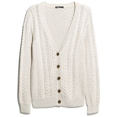 Flecked Cable-Knit Cardigan (£17) ❤ liked on Polyvore featuring tops, cardigans, outerwear, sweaters, jackets, cotton cable knit cardigan, cable cardigan, long sleeve tops, cotton cardigan and long sleeve cotton tops
