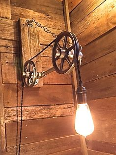 Pulley Light- Reclaimed Wood Edison Bulb Light- Steampunk light fixture- Industrial light